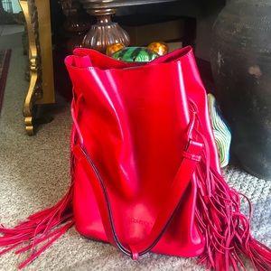 Bright red Calvin Klein Gemmy bucket bag fringe